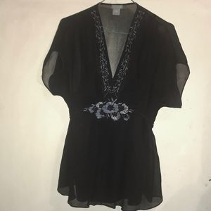 Ann Taylor silk cap black sleeve beaded top sz 10